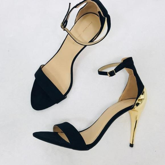 a99d6f53533 Zara Black Minimalist Ankle Strap Heel Gold Detail.  M 5aca6d0850687c44d0665611